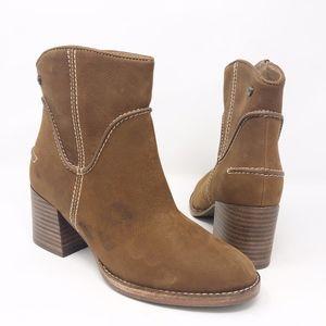 UGG Annie Bootie Brown Leather Block Heel